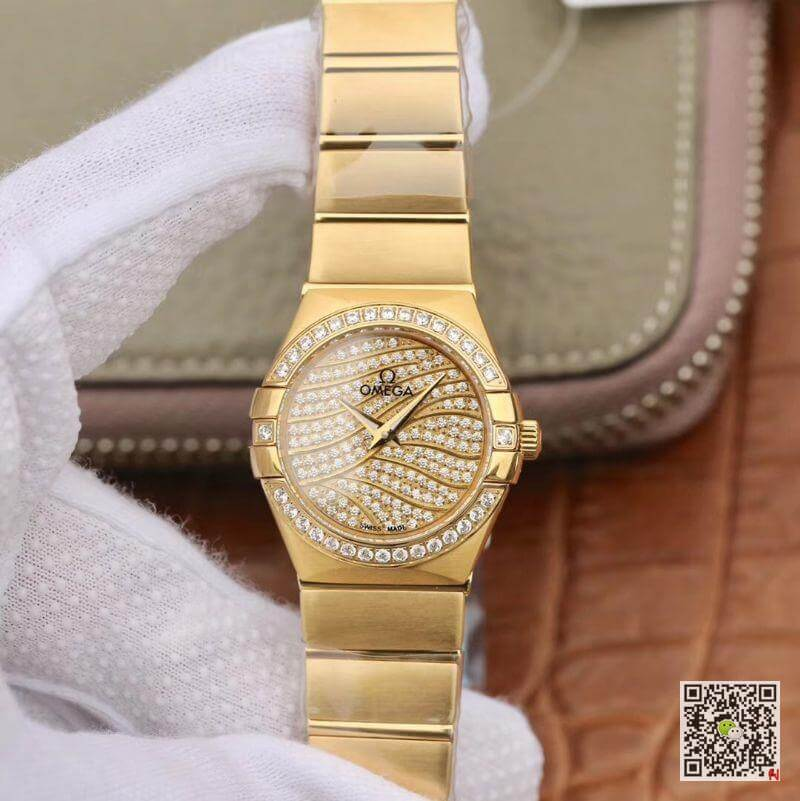 omega constellation 123 55 27 20 55 006 18k yellow gold tw factory 1