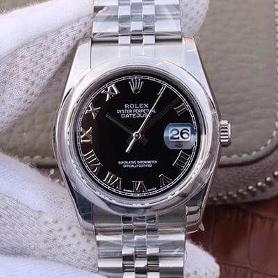 Rolex Datejust M116334 36mm Black Dial Rome Time Scale - AR Factory